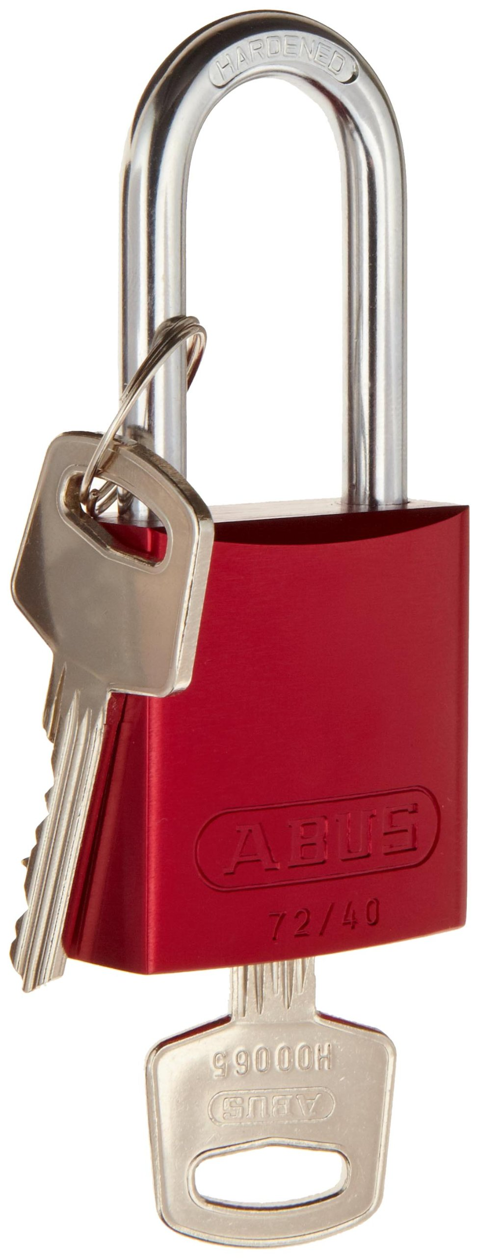 Brady  Aluminum Lockout/Tagout Padlock, Keyed Alike, 1-3/5'' Body Length, 1-1/2'' Shackle Clearance, Red (Pack of 6)