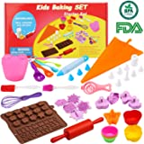 Kids Cooking Baking set Baking supplies Cupcake decorating kit-40 pcs include Silicone Chocolate Molds,Cupcake cups,Cake decorating kit,Cookie Cutters,Measuring Spoons,Rolling Pin,Spatula,Whisk