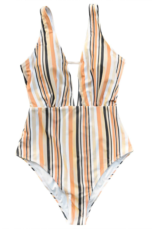 CUPSHE Women's Make Unique Stripe One-Piece Swimsuit Beach Swimwear Bathing Suit
