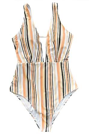 78bde75e13a5d CUPSHE Women's Deep V-Neck Open Back Stripe Make Unique One-Piece Swimsuit  Small
