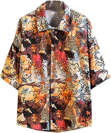 LEKODE Men Shirt Summer Fashion Tee Business Leisure Printing T-Shirt Blouse