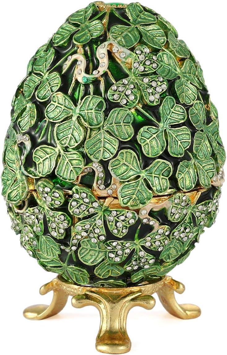 Furuida Faberge Egg Green Leaf Style Enameled Trinket Box Hinged Classic Ornaments Metal Craft Gift for Home Decor
