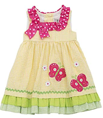 4b7a1c332 Baby Infant Girls Yellow Seersucker Dress Embroidered Butterflies Daisies  Summer Holiday Beach Sun Dress Rare Editions (3-6 Months): Amazon.co.uk:  Clothing
