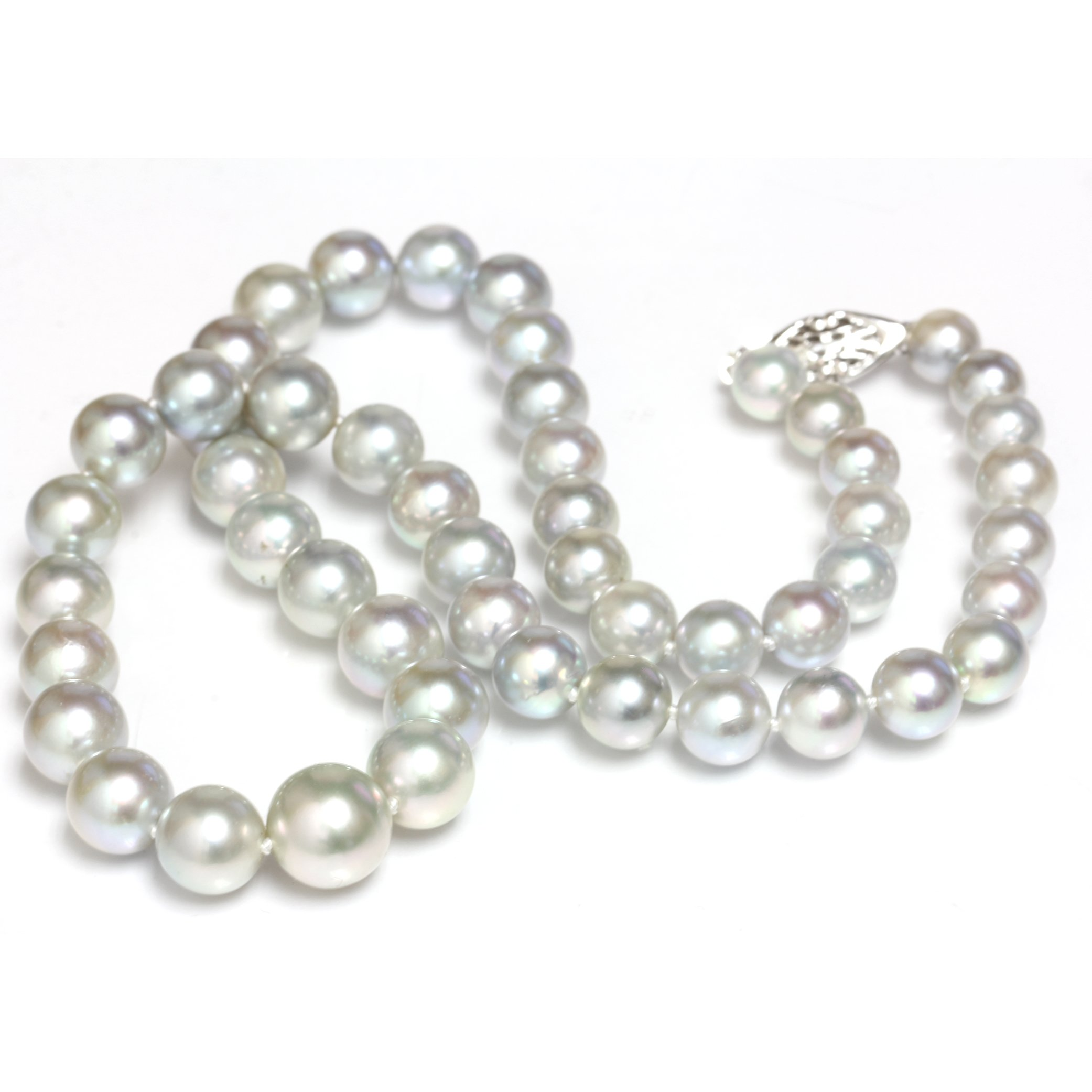Akoya Pearl Graduated Necklace 10 - 7 mm Silver Blue AAA 14kt White Gold Clasp