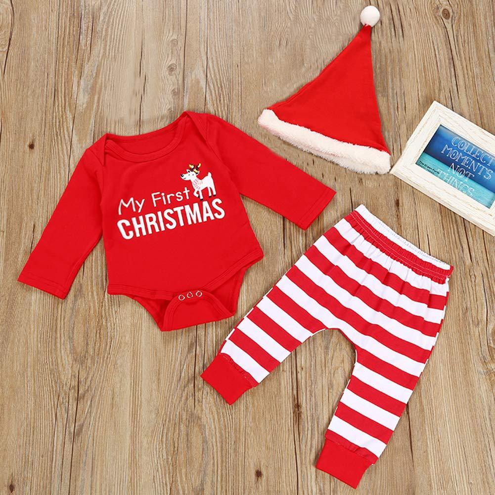 811e3b2da7e31 Tenues Noël Bébé Garçon Fille Mon Premier Xmas Longues Barboteuse et Pantalons  Rayé Costume Nouvel an Pyjama Coton de Haute Qualité avec Bonnet Santa  Claus  ...