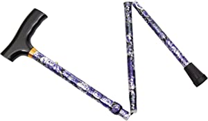 Essential Medical Supply Spring Garden Collection Demi Folding Cane in Lilac with Wood Derby Handle