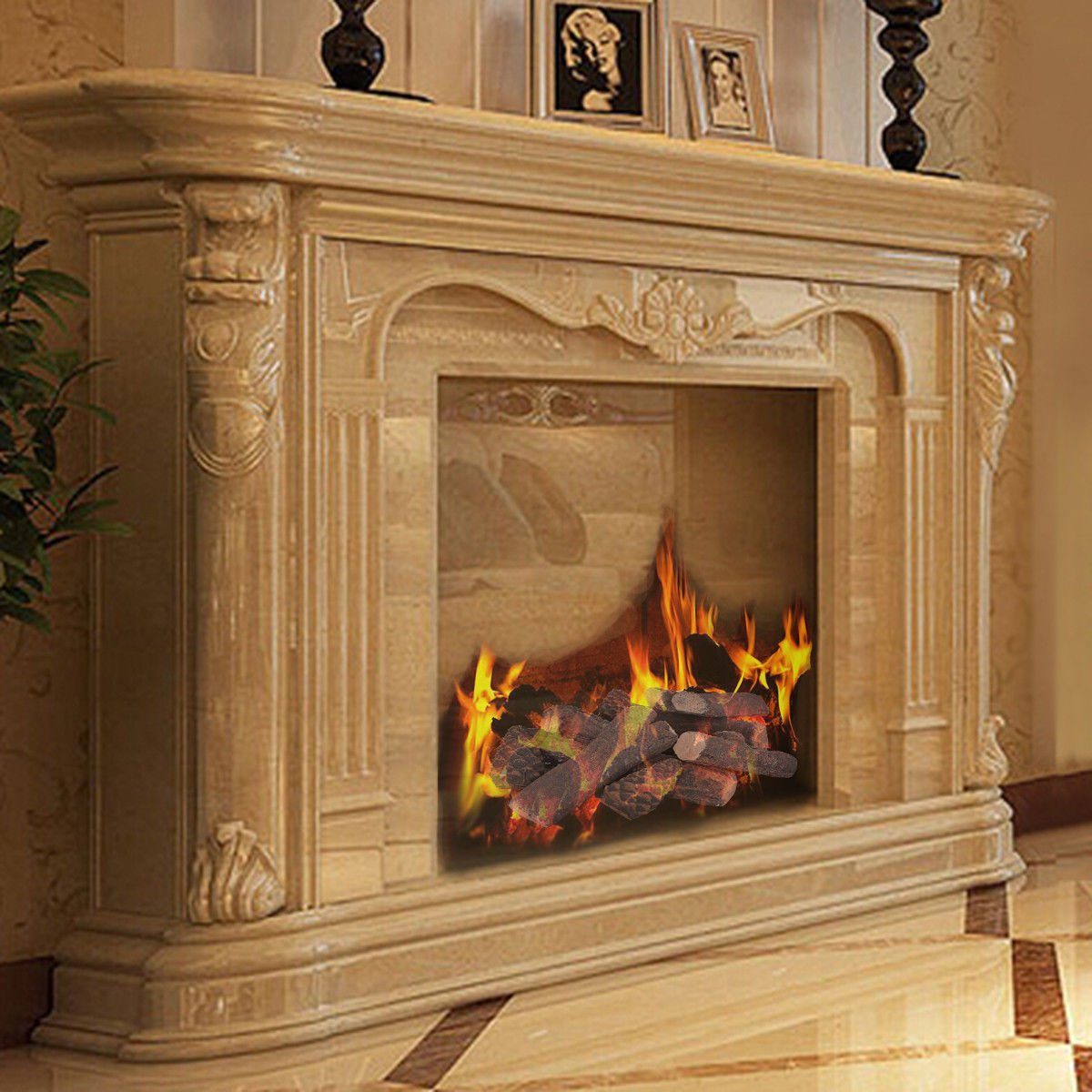 amazon com goplus ceramic wood gas fireplace log set for all