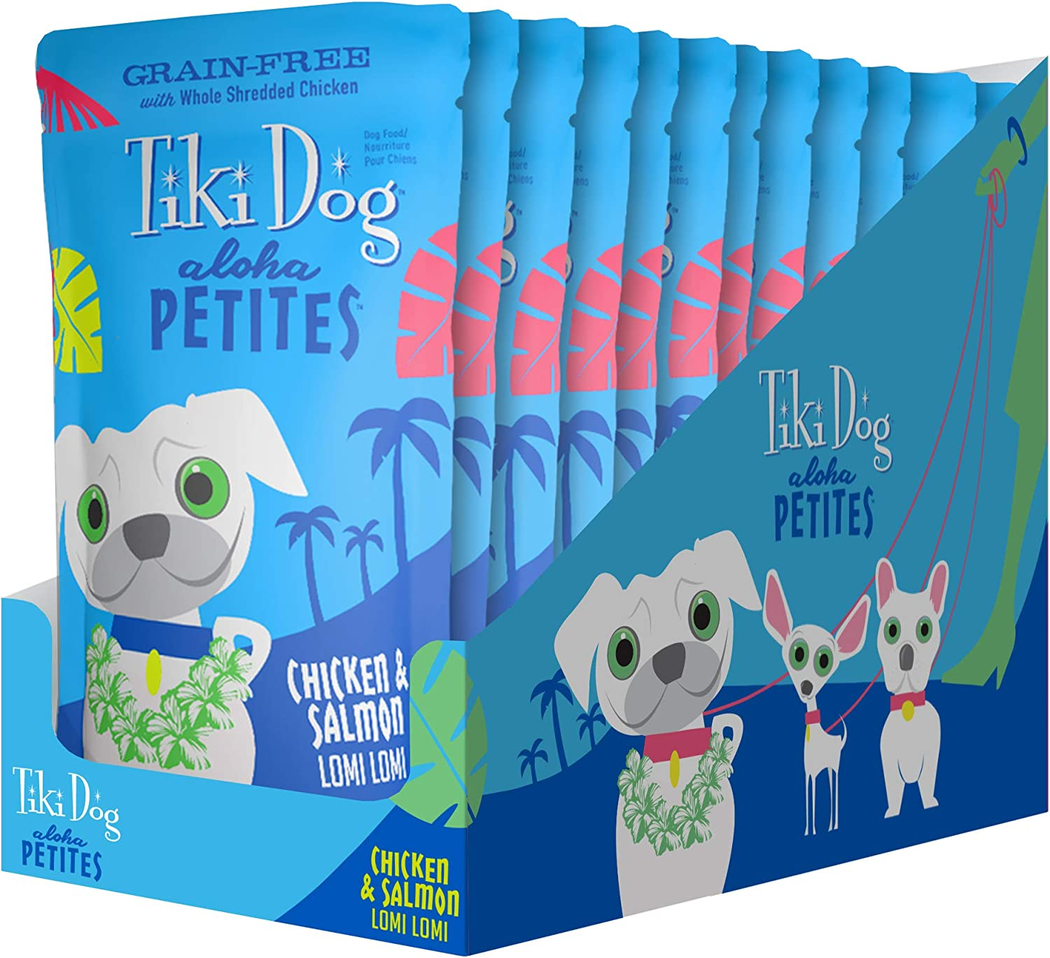 Tiki Dog Aloha Petites Gluten & Grain Free Wet Food in a Pouch for Adult Dogs with Shredded Meat & Superfoods, 3.5oz 12pk, Chicken & Salmon Lomi Lomi