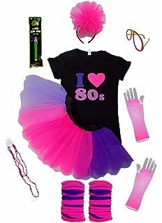 NEON RAINBOW TUTU SKIRT PRIDE PINK T-SHIRT 80S FANCY DRESS PARTY HEADBAND BEADS
