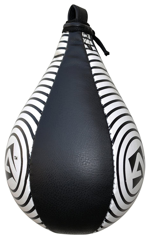 AQF/ Black /& White Pro /pera de Velocidad de Cuero Saco de Boxeo de Entrenamiento de Boxeo Artes Marciales Mixtas pera