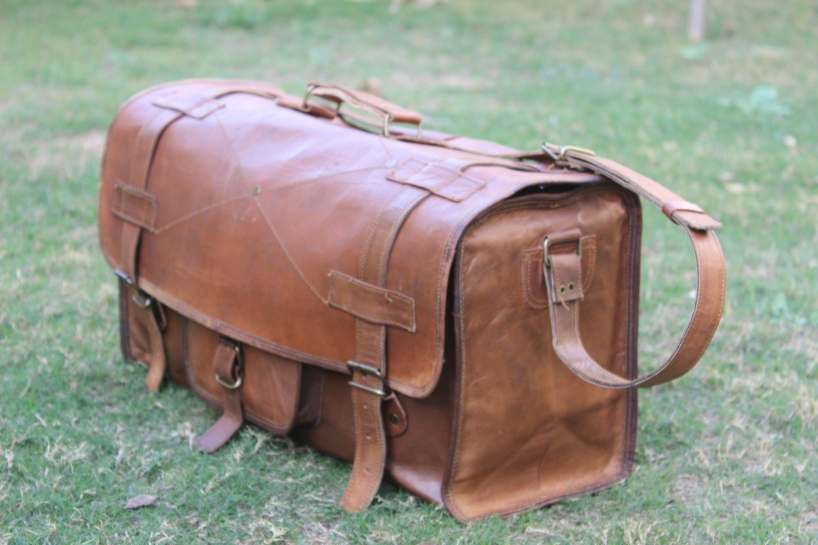 HLC Genuine Leather Handmade Vintage Duffel Luggage Travel Bag Duffel Gym Bag Yogo Bag Travelling Bag by HLC (Image #4)