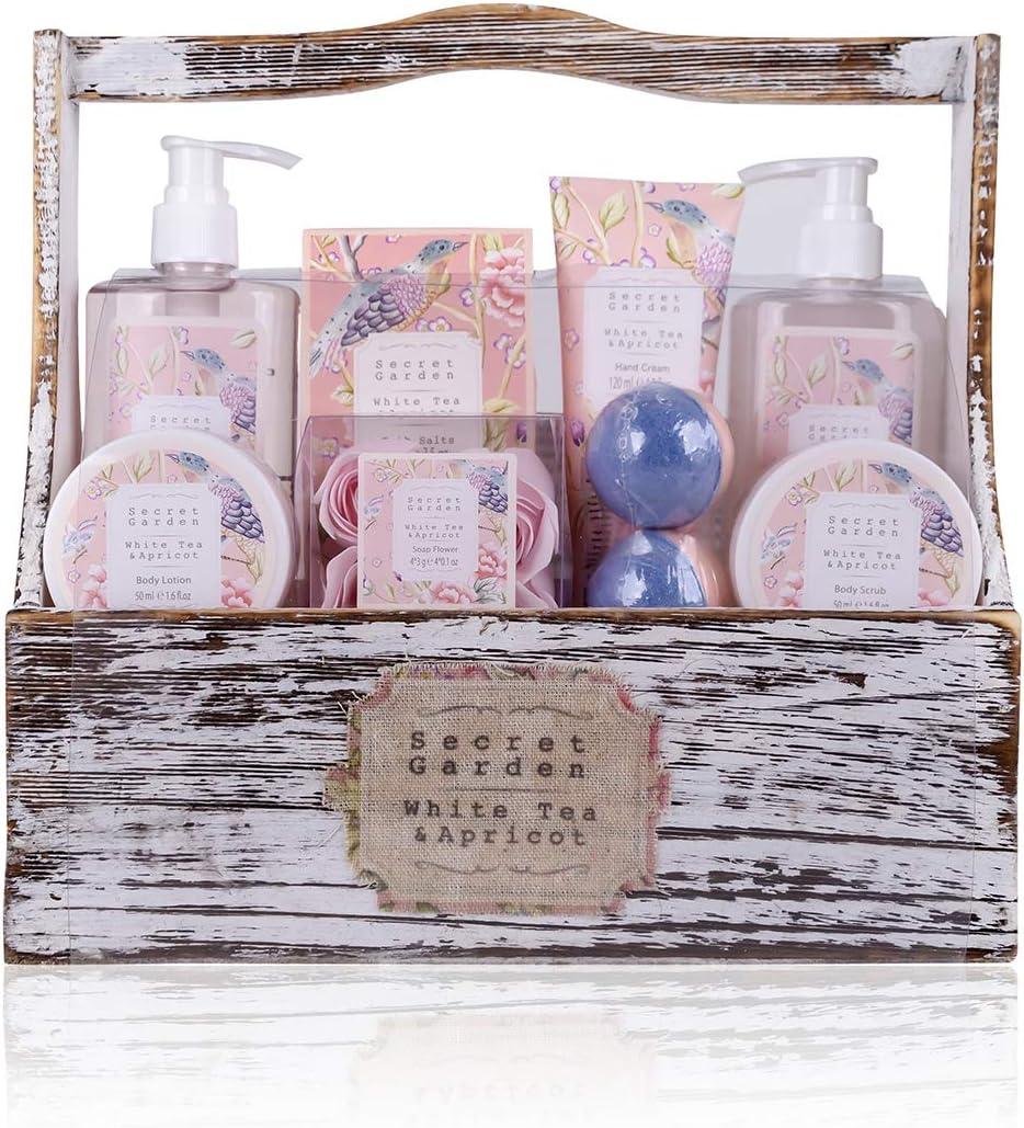 Accentra Secret Garden - Set de regalo de baño y ducha con té blanco y aroma de albaricoque (8 piezas)