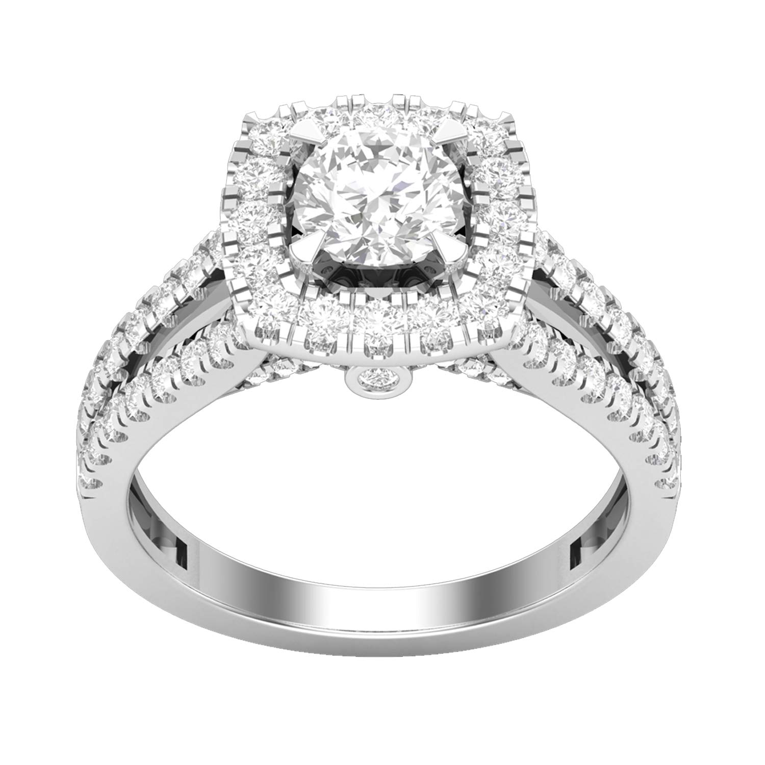 Krivox 2.00 ct Round Cut Simulated Diamond 14k White Gold Finish Solitaire Halo Engagement Ring for Womens