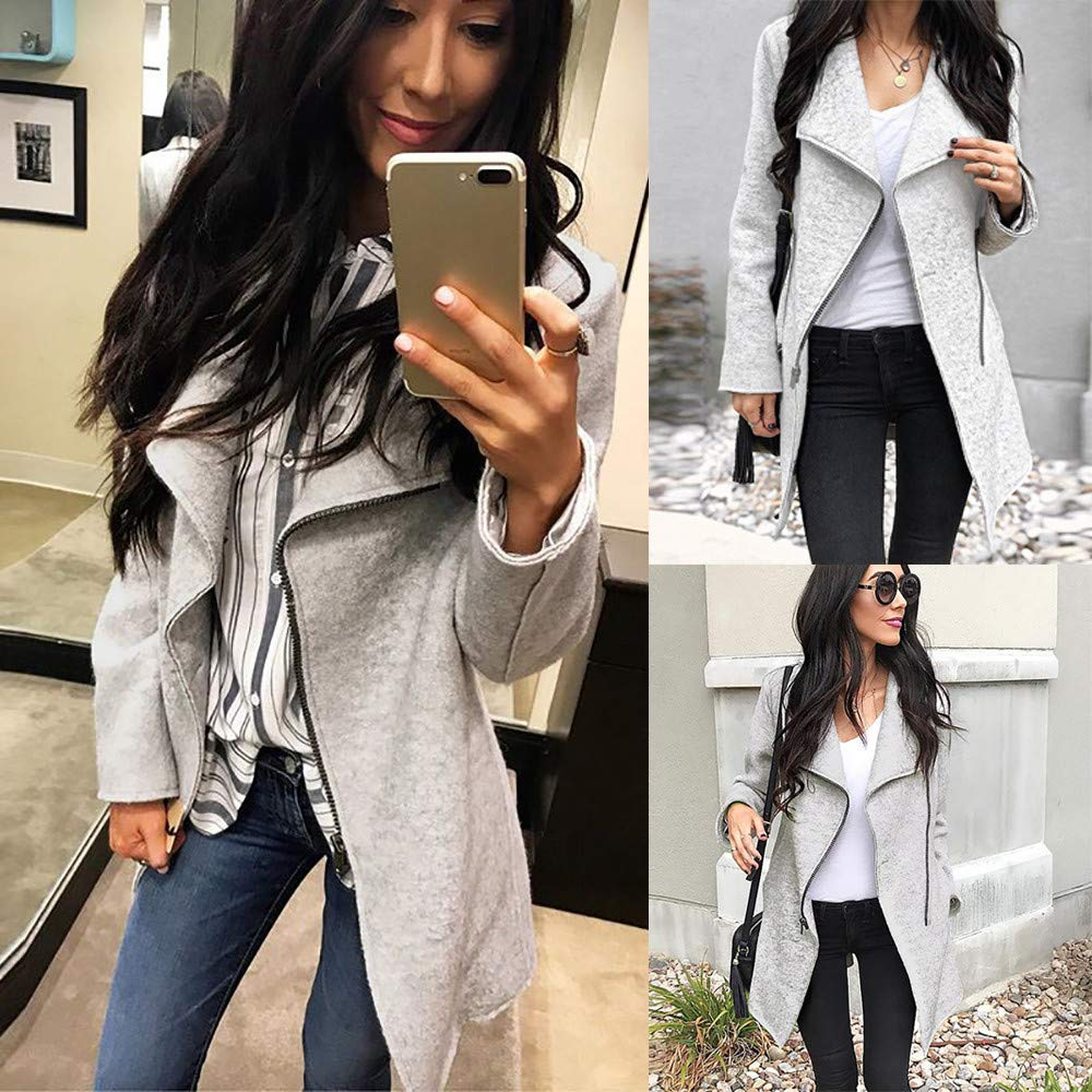 Peize Fashion Womens Irregular Full-Zip Thin Coat Lapel Outwear Casual Turn-Down Collar Long Sleeves Sweatshirt Tops