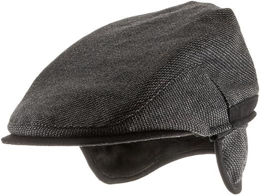 MSFGJZM Men Fall Winter Peaked Flat Cap Adjustable Earmuffs Driving Cap Beret Hat