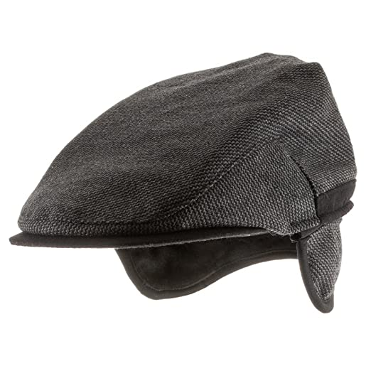 a427eb131af Ultrafino Scottish Wool Ivy Herringbone Newsboy Scally Driving Cap with  Fleece Ear Flaps at Amazon Men s Clothing store