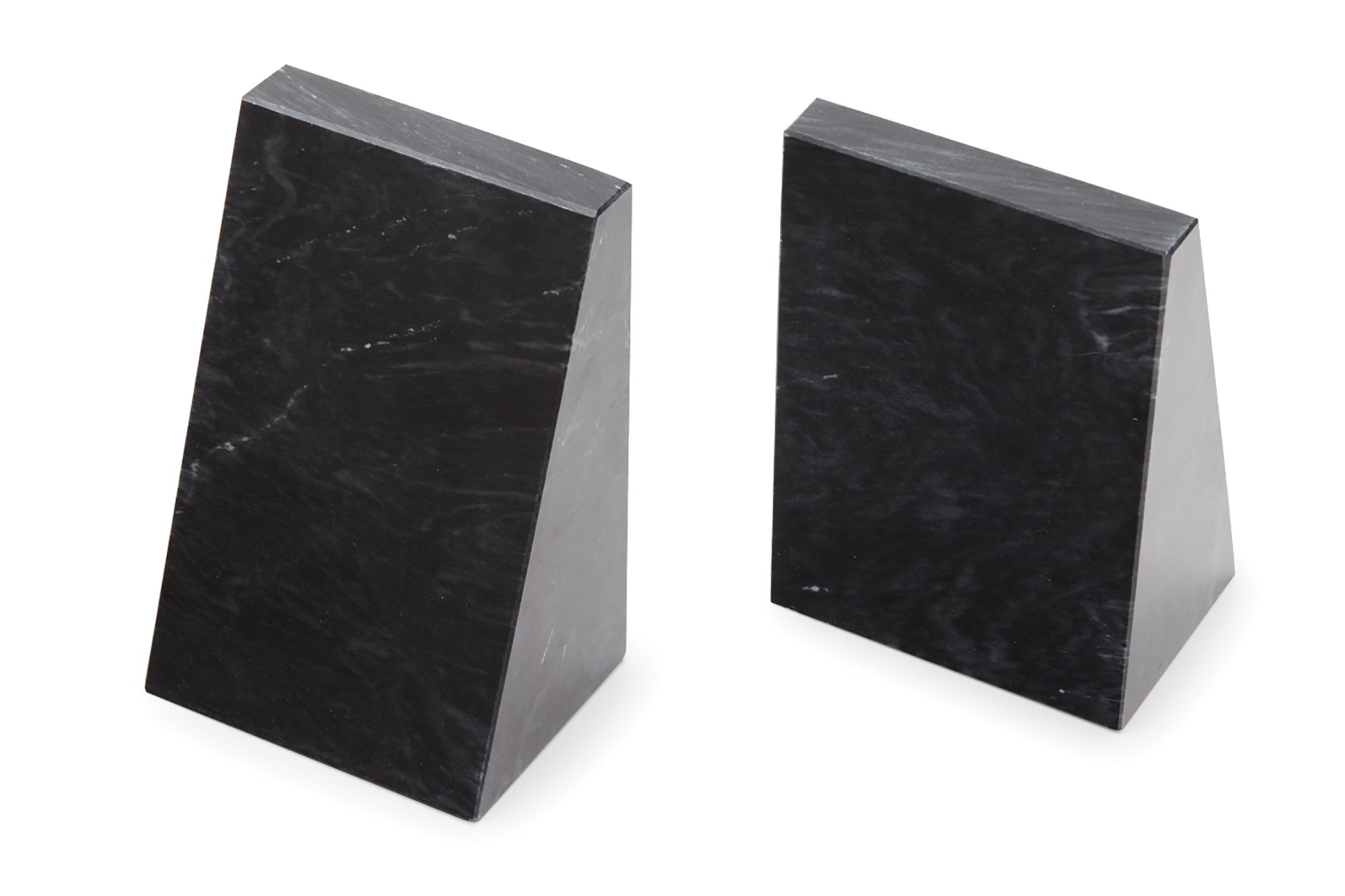 Fox Run Triangular 100% Natural Polished Black Marble Bookends