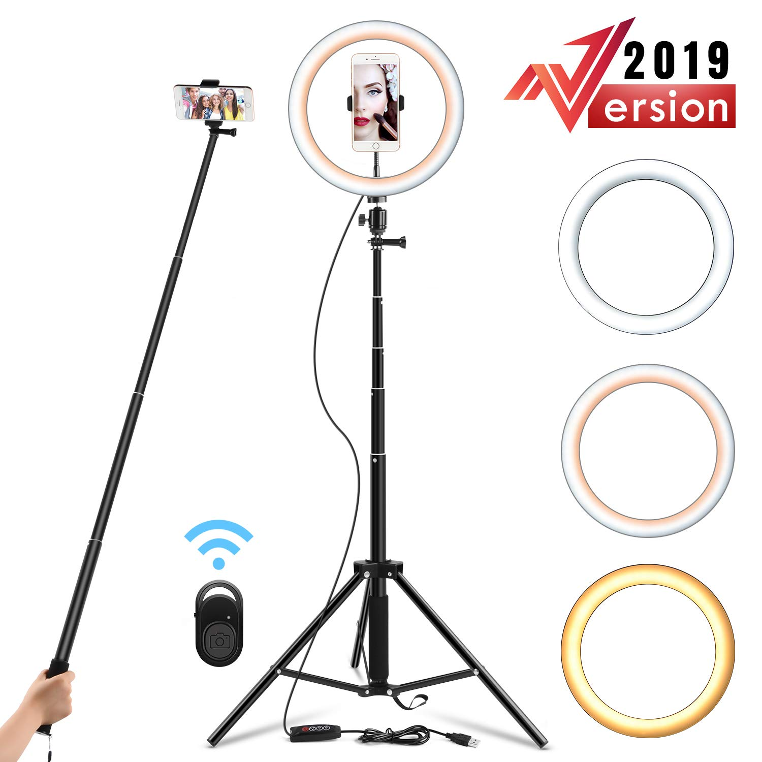 Yesker 10.2'' Selfie Ring Light Dimmable with Tripod Stand & Cell Phone Holder, Mini Led Camera Ringlight for Live Streaming/Makeup/YouTube Video/Photography, Remote Control