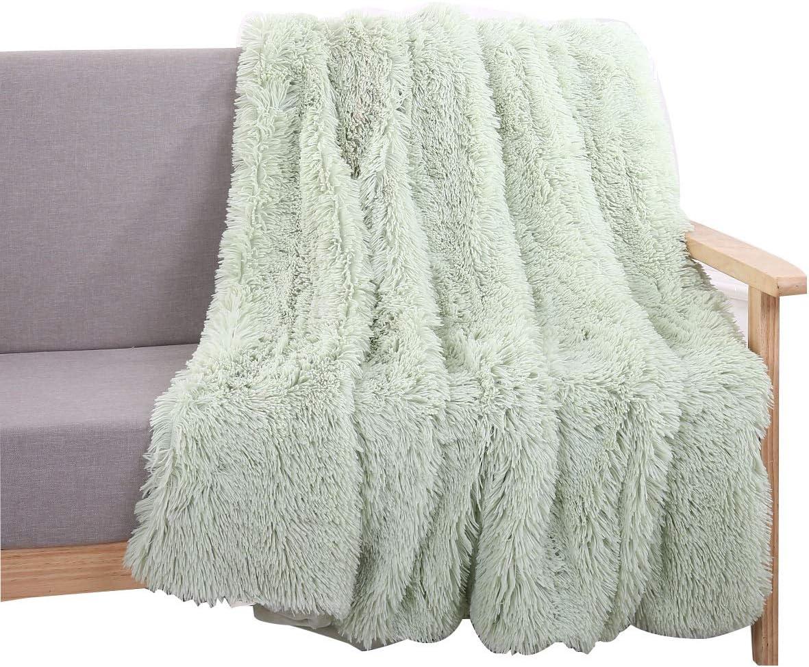 Amazon Com You Sa Super Soft Shaggy Faux Fur Blanket Ultra Plush Decorative Throw Blanket 51 X63 Mint Green Home Kitchen