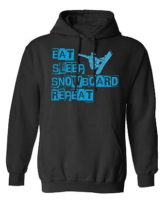 Buzz Shirts Eat Sleep Snowboard Repeat Elija Sudadera con Capucha o suéter Hombres Mujer Unisex: Amazon.es: Ropa y accesorios