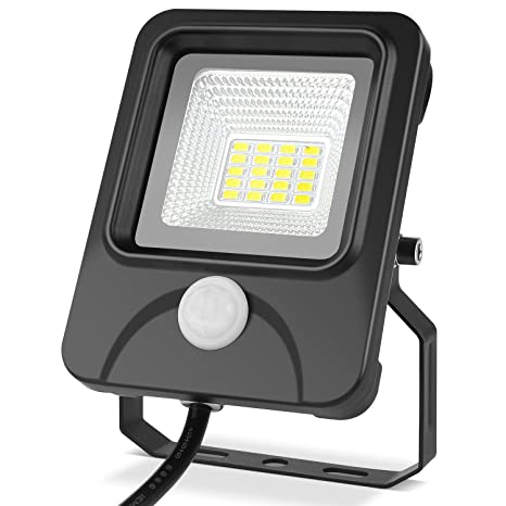 DECKEY Foco Proyector Exteriores LED 10W Foco Reflector Negro con Sensor de Movimiento Impermeable IP66 color