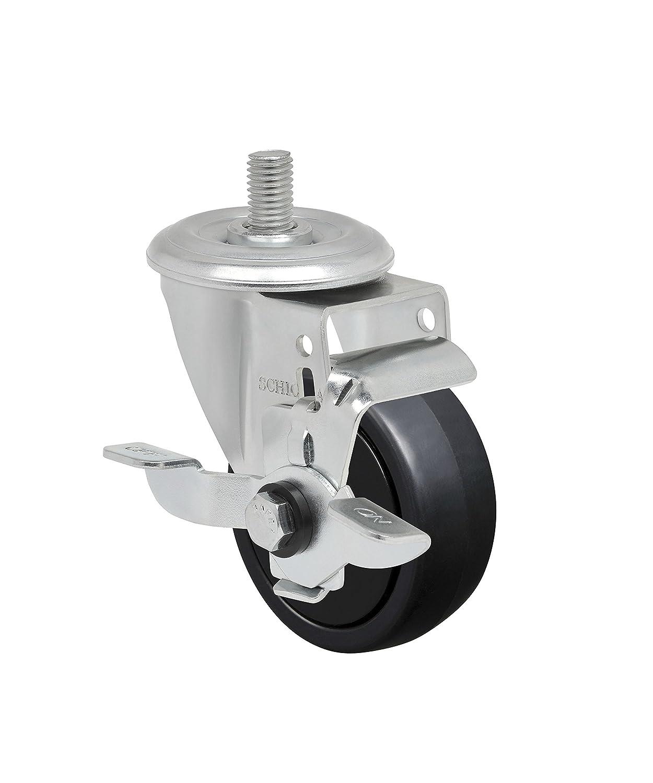 150 lbs Schioppa L12 Series 3 x 1-1//4 Swivel Caster with Wheel Lock Brake 3//8 Diameter x 1 Length Threaded Stem GLEED 312 NPP SL Non-Marking Polypropylene Wheel