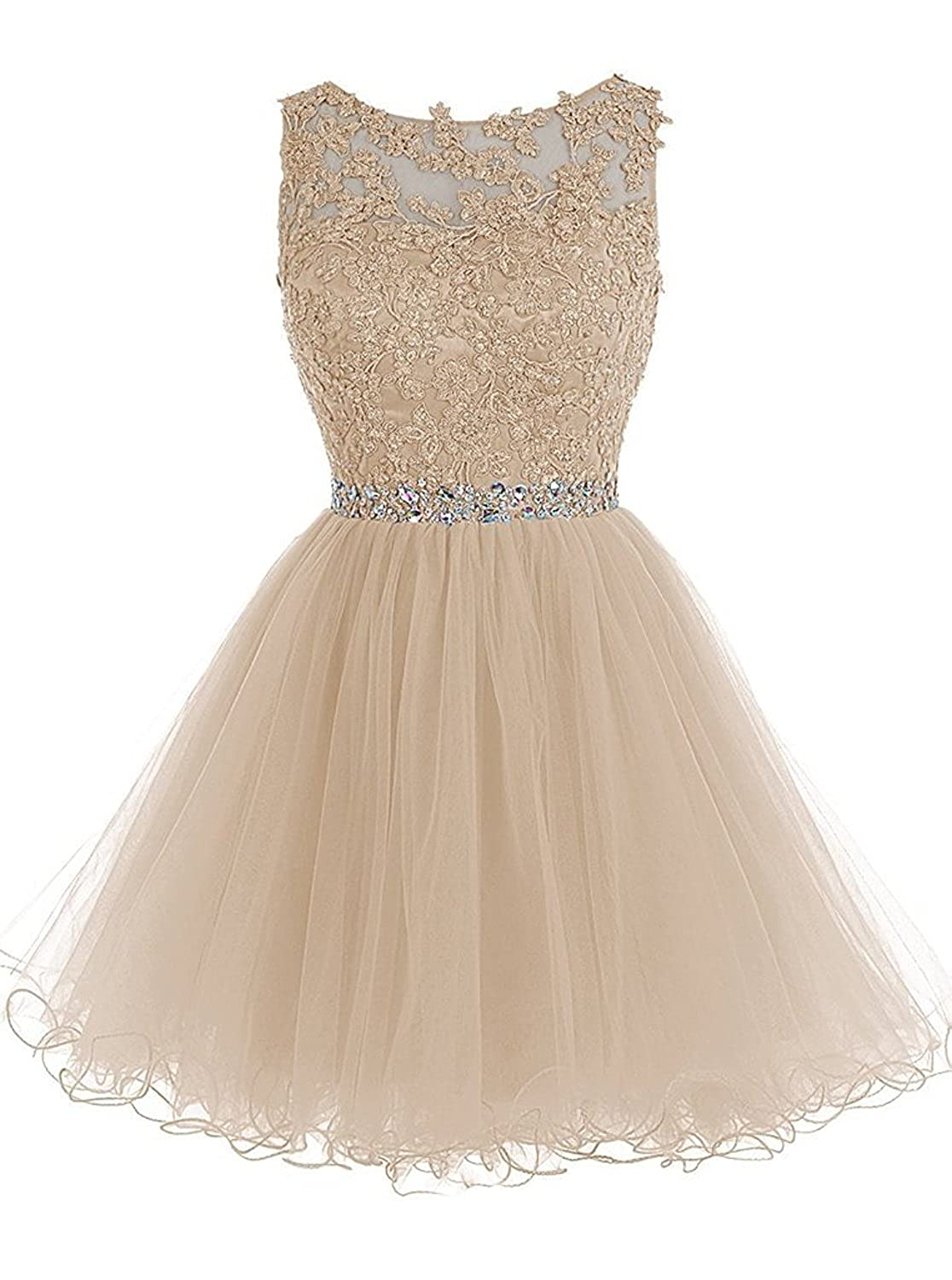 Champagne Caissen Women's Short Ball Gown Sheer Crew Neck Beading Appliques Tulle Prom Dress Open Back with Zipper Mini Party Dress