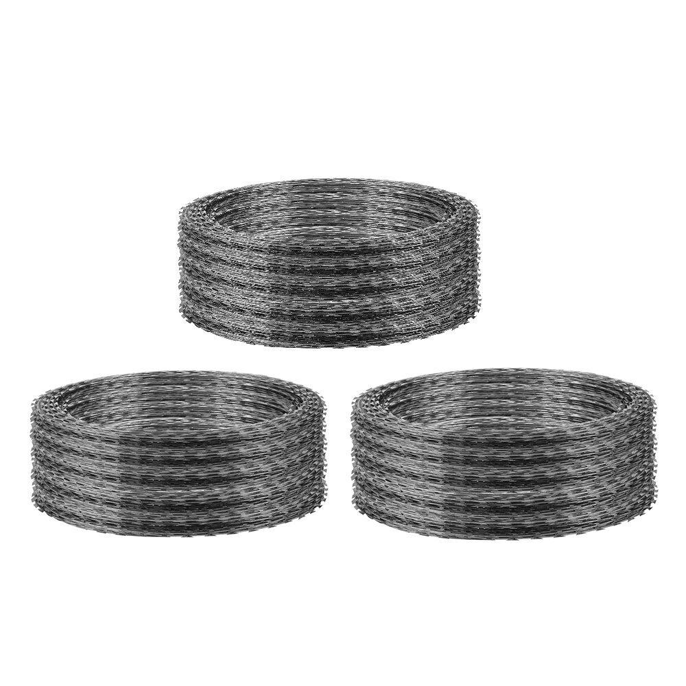 OrangeA Razor Wire Galvanized Barbed Wire Razor Ribbon Barbed Wire 18'' 75 Feet 15 Coils Per Roll