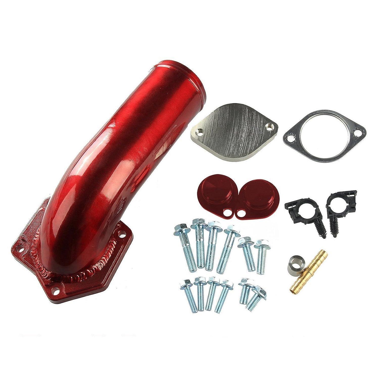 EGR Valve & Cooler Delete Kit & Intake Elbow For 08-10 Ford 6.4L Diesel Red blackhorseracing