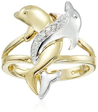 Amazoncom 10k TwoTone Gold Diamond Accent Intertwined Dolphin