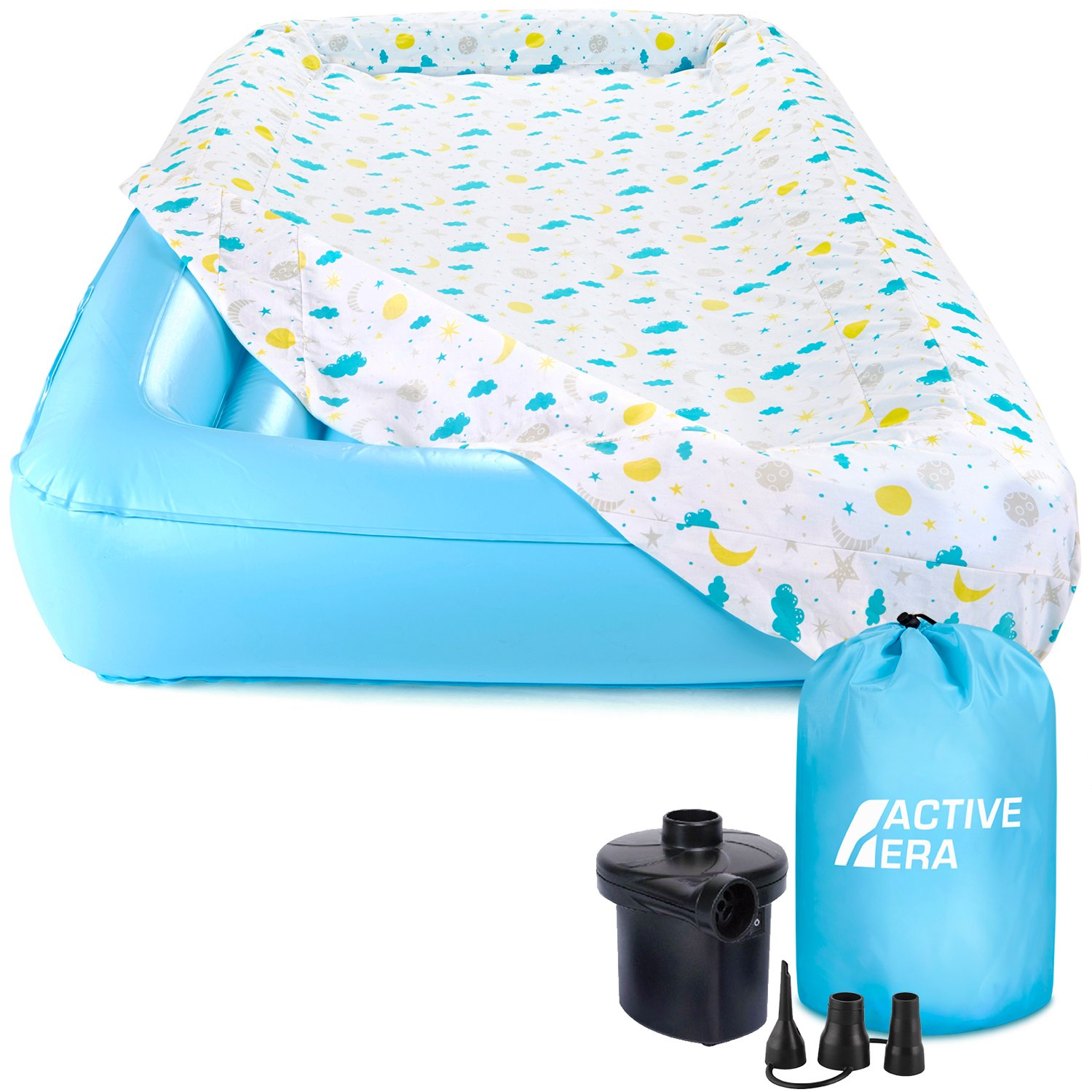 Active Era Kids Air Mattress - Portable Inflatable Travel Air Bed with Toddler Safety Bumpers, Soft Washable Fitted Sheet and Fast AC Pump (60 Second Inflation) by Active Era