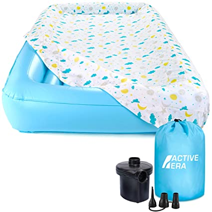 Toddler Bed Air Mattress.Active Era Kids Air Mattress Portable Inflatable Travel Air Bed With Toddler Safety Bumpers Soft Washable Fitted Sheet And Fast Ac Pump 60 Second