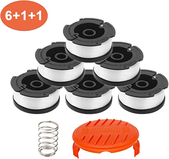 """YUEFENG Weed Eater Spool for Black and Decker AF-100 with String Trimmer Spool Refills Line 30ft 0.065"""", 6 Replacement Spools,1 Spool Cap,1 Spring"""