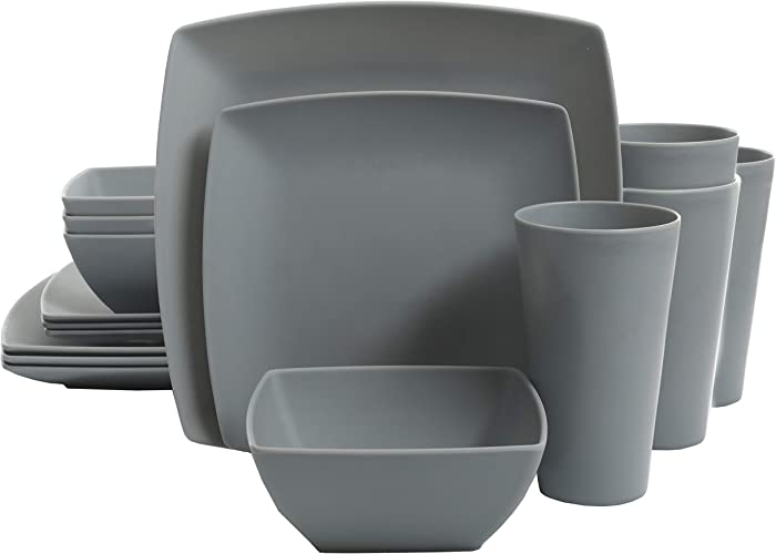 Gibson Home Soho Grayson Square Melamine Dinnerware Set, Service for Four (16pcs), Grey