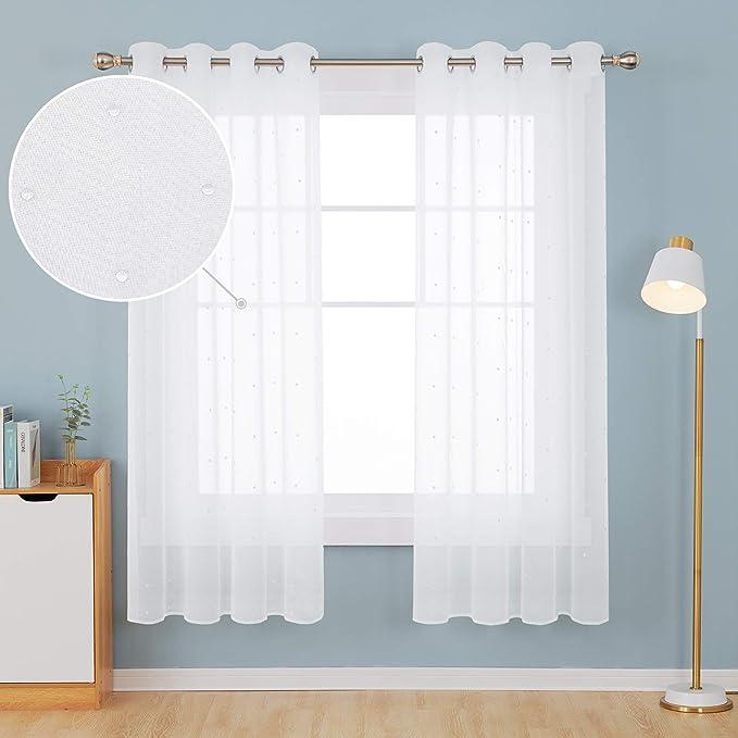 Deconovo Visillo Bordado Cortina Translúsida para Ventana Dormitorio con Ojales 140 x 175 cm 1 Par Gota Blanco: Amazon.es: Hogar