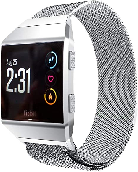 GOSETH Compatible with Fitbit Ionic Band, Stainless Steel Band Replacement Accessories Compatible with Fitbit Ionic Smartwatch(Silver/Large Size)