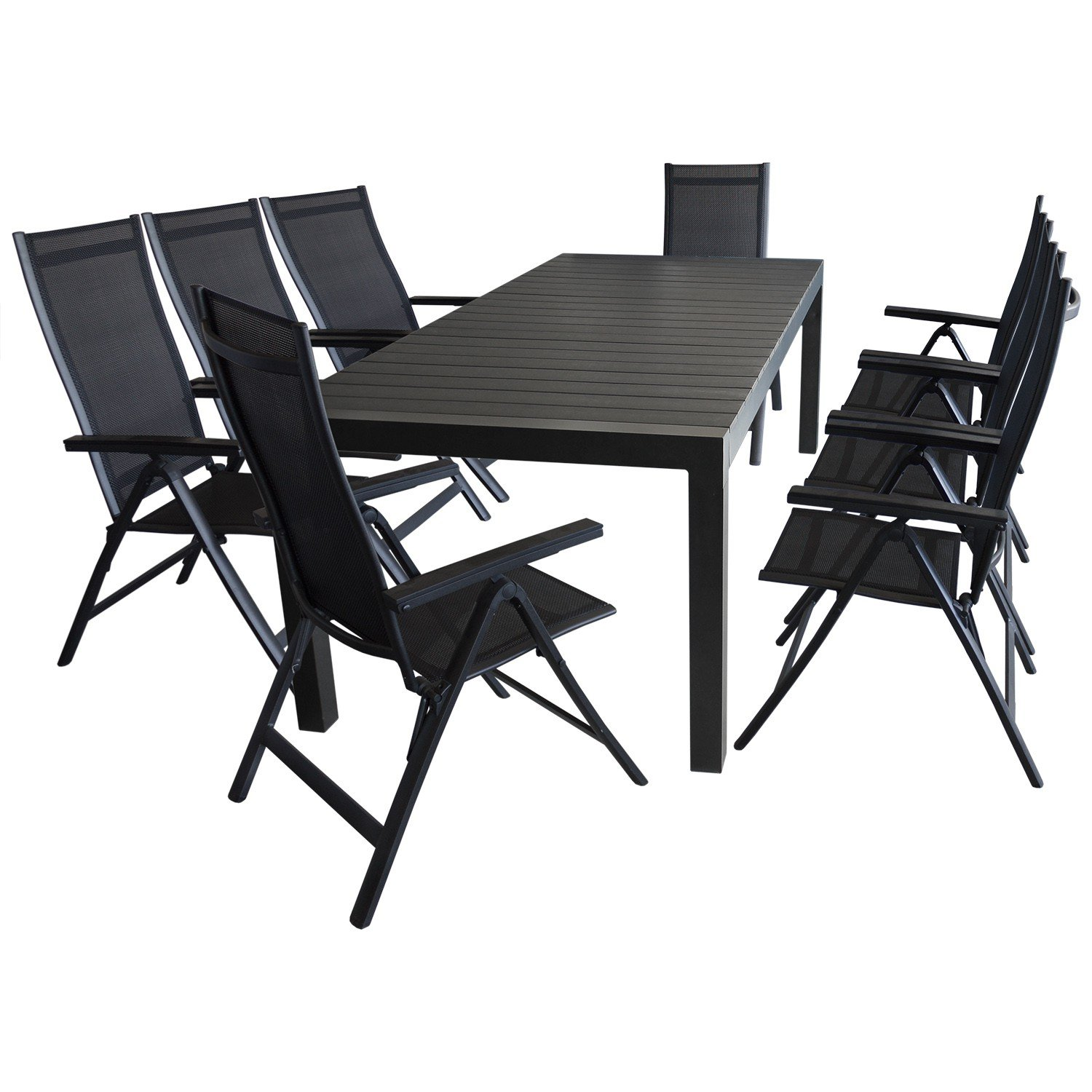 9tlg sitzgruppe gartengarnitur gartenm bel terrassenm bel set aluminium ausziehtisch 224 284. Black Bedroom Furniture Sets. Home Design Ideas