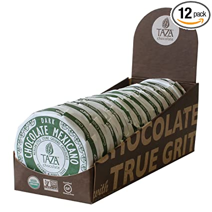 Taza Chocolate Organic Mexicano Disc 50% Dark Chocolate, Guajillo Chili, 2.7 Ounce (12 Count), Vegan
