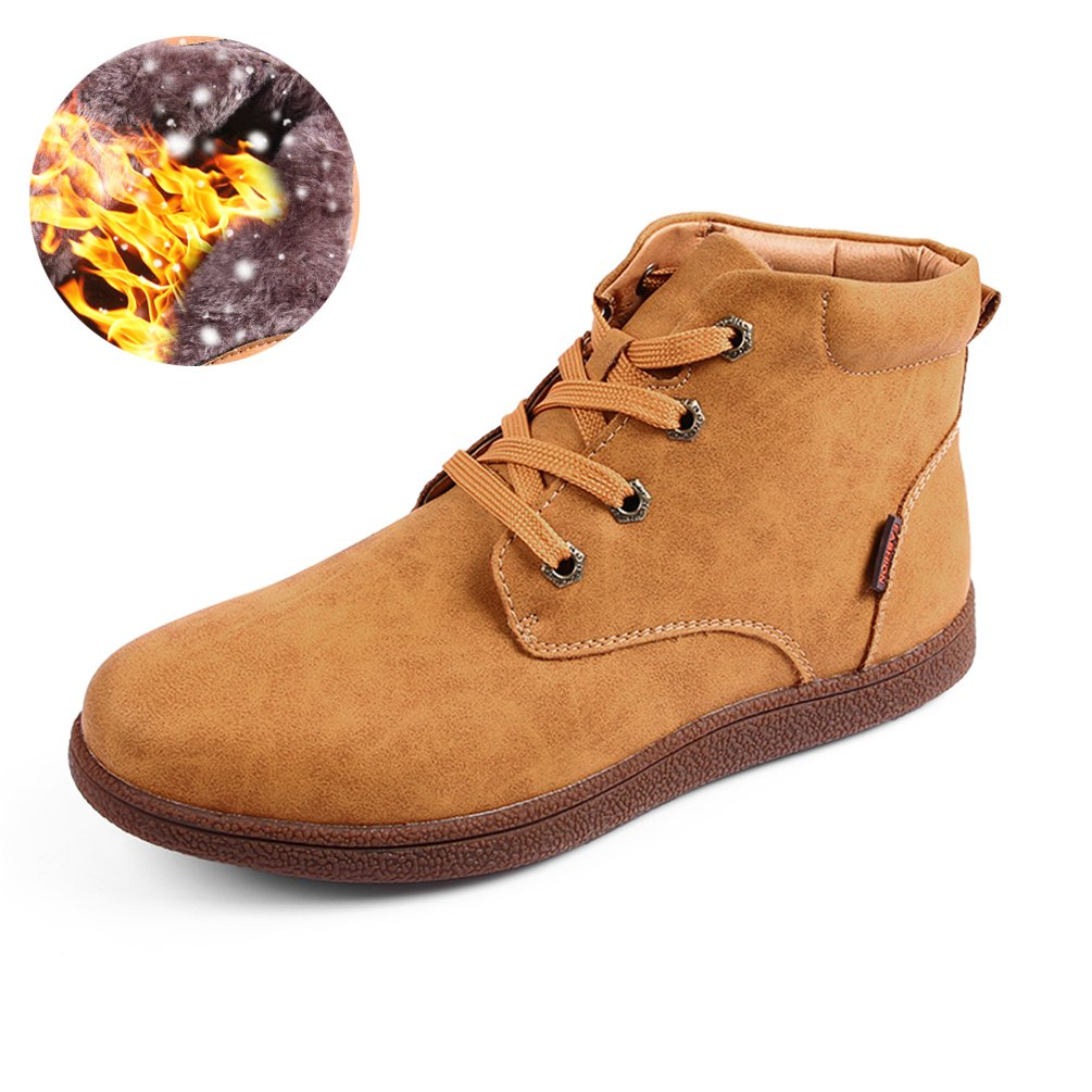 Sherry Love Men's Waterproof Snow Boots Hiking Boot Ankle Chukka Boots Classic Type -Yellow-46 EUR