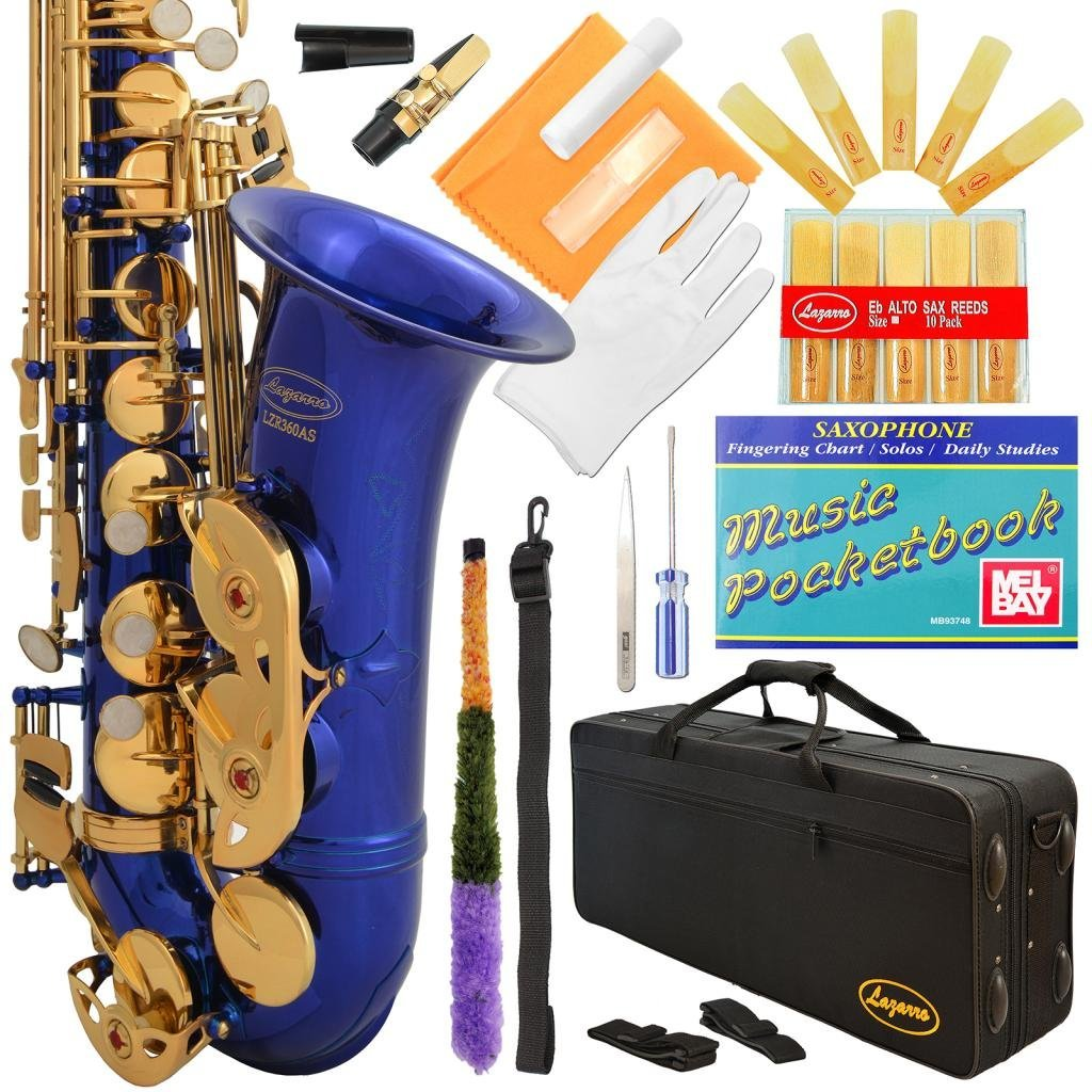 Lazarro 360-BU E-Flat Eb Alto Saxophone Royal Blue-Gold Keys with Case, 11 Reeds, Care Kit and Many Extras