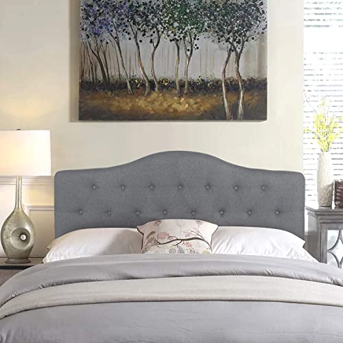 Joveco Queen Headboard Tufted Button Fabric Upholstered Headboards Gray