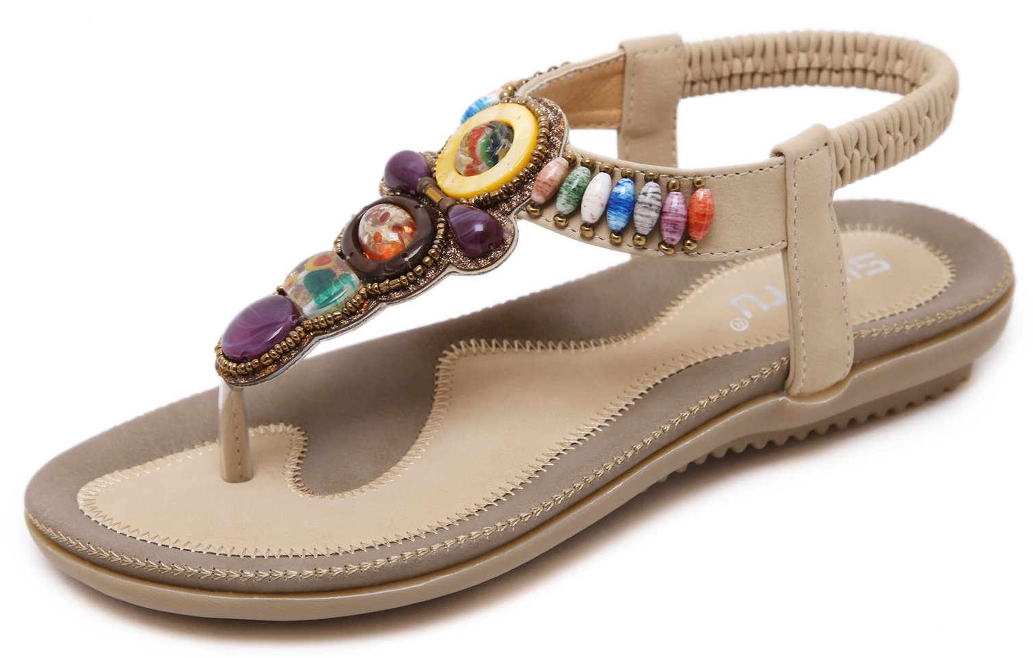 DolphinBanana Colorful Summer Vacation T Strap Flat Sandals Beige Open Toe Thongs Jewels Gem Beads Dressy Casual Daily Wear Flip Flop Fashion Design for Women Girls Seaside Beach Match Large Size