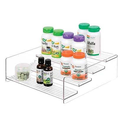 mDesign Organizador de plástico multiuso - Perfecto como caja para medicamentos o para organizar vitaminas o