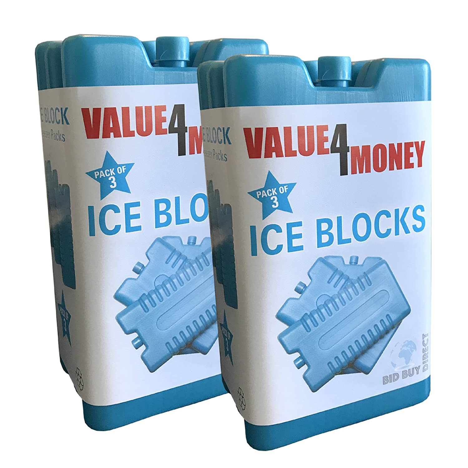Pack of 3/6 - Freezer Blocks - Use With a Cool Bag For Added Cooling - Cools & Keeps Food Fresh (Pack of 6) SportsCentre