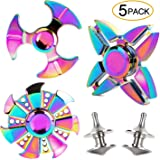 SCIONE Fidget Spinners Metal 5 Pack Rainbow ADHD Anxiety Toys Prizes for Classroom Party Favors High Speed Stress Relief Spin Autism Fidgets Best EDC Hand Toy