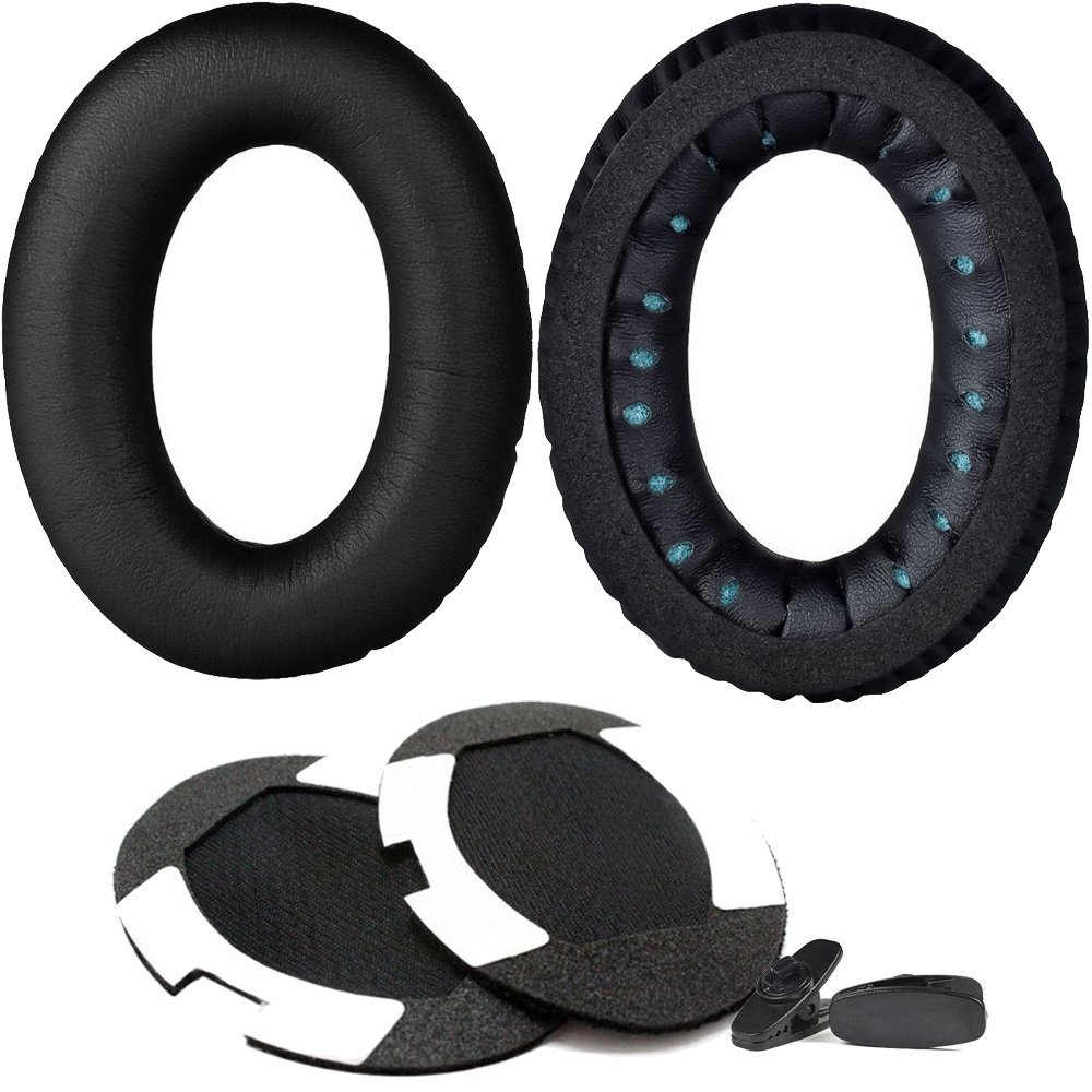 PEYOU Earpads Replacement Compatible For Bose QuietComfort 2/QC2 QuietComfort 15/QC15 QuietComfort 25/QC25 Ae2 Ae2i Ae2w, Soft Memory Foam Ear Pad Cushions with Headphones Cable Clips