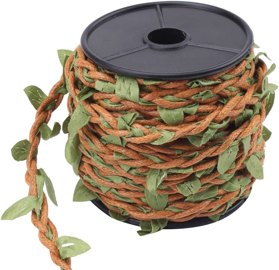 10M//Roll Artificial Green Leaves Hemp Wax Rope Brown wax rope Beautiful Leaf Ribbon Mixed Knitting Rope for DIY Art /& Crafting Wreath Christmas Rattan Accessories Home Wall Garden 5mm Natural Jute Twine Hemp Rope