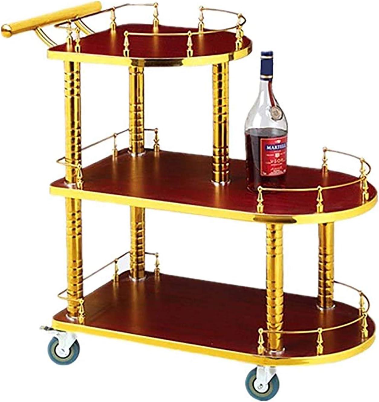 OMKMNOE Simple Idea Trolley Racks, Carrier De Vino Snack Coche Carrito De Té Móvil Hotel Carriage Bank Trolley Beauty Herramienta Carrito Práctico,Rojo