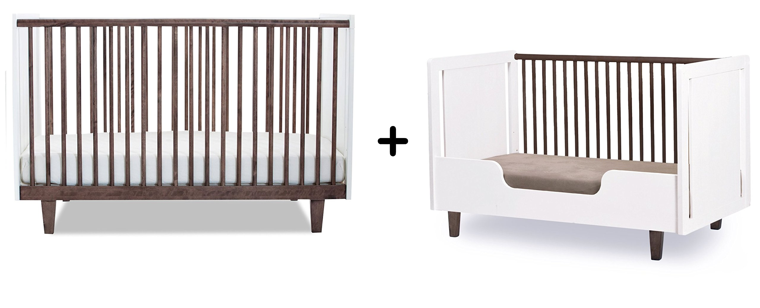 Oeuf Rhea Crib, Walnut/White + Oeuf Rhea Conversion Kit, White Complete Set
