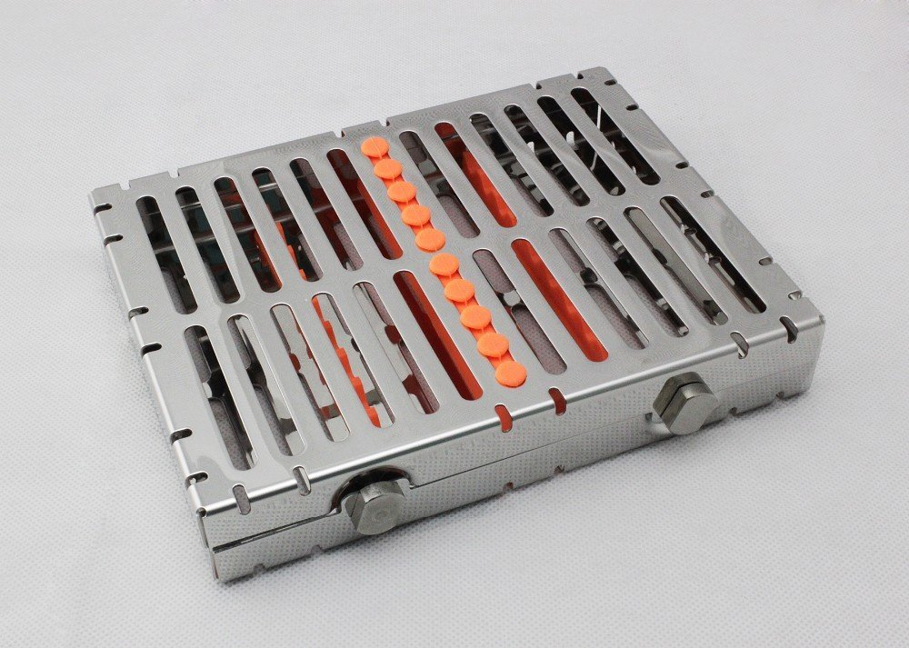 For 10 Instruments Dental Surgical Sterilization Cassette Tray Racks With Lock Orange